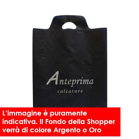 Shopper in Plastica Manico Ricavato Fondo Argento e Oro
