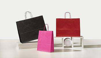 Shopper in Carta Maniglia Ritorta Colorati Italy colore Rosso