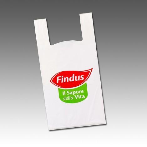 Shopper in Plastica Biodegradabile Manico Bretella Colore Bianco/Trasparente