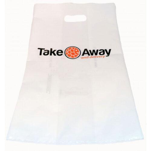 Shopper in Plastica Biodegradabile Manico Fagiolo Colore Bianco/Trasparente
