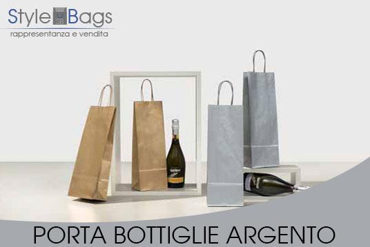 Shopper in Carta Porta Bottiglie Colore Argento