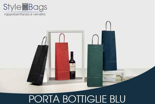 Shopper in Carta Porta Bottiglie Colore Blu
