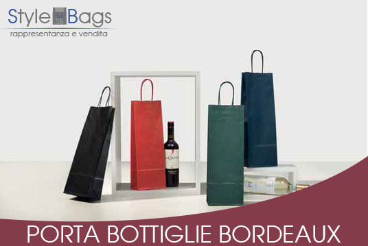 Shopper in Carta Porta Bottiglie Colore Bordeaux