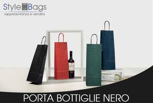 Shopper in Carta Porta Bottiglie Colore Nero