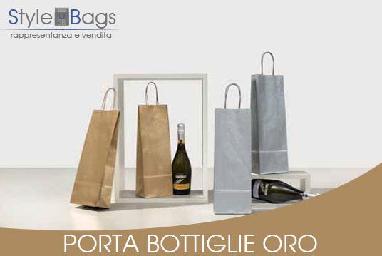 Shopper in Carta Porta Bottiglie Colore Oro