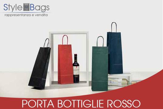 Shopper in Carta Porta Bottiglie Colore Rosso