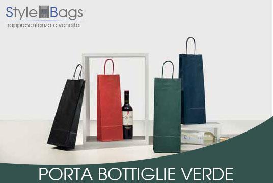 Shopper in Carta Porta Bottiglie Colore Verde