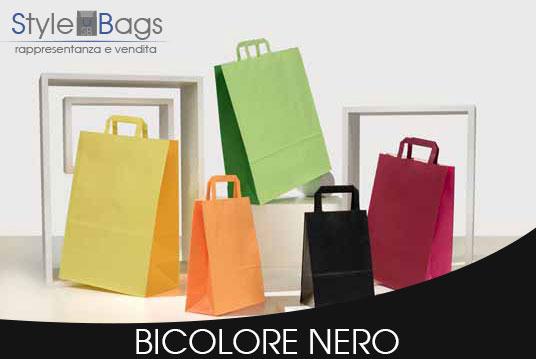 Shopper in Carta Maniglia Piatta Bicolore colore Nero