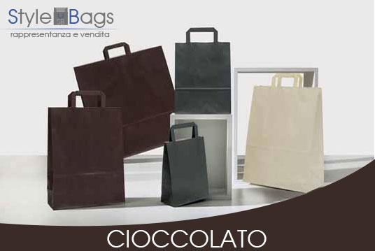 Shopper in Carta Maniglia Piatta Colore Cioccolato