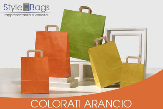 Shopper in Carta Maniglia Piatta Colorati Arancio