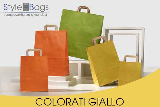 Shopper in Carta Maniglia Piatta Colorati Giallo