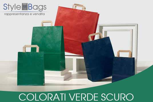 Shopper in Carta Maniglia Piatta Colorati Verde