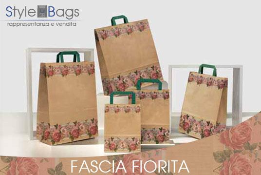 Shopper in Carta Maniglia Piatta Fascia Fiorita