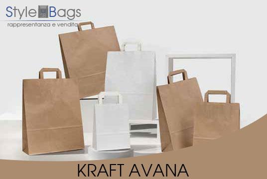 Shopper in Carta Maniglia Piatta Colore Kraft Avana