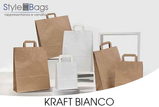 Shopper in Carta Maniglia Piatta Colore Kraft Bianco