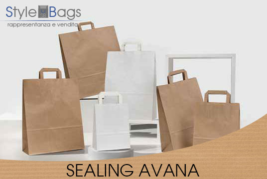 Shopper in Carta Maniglia Piatta Sealing Avana