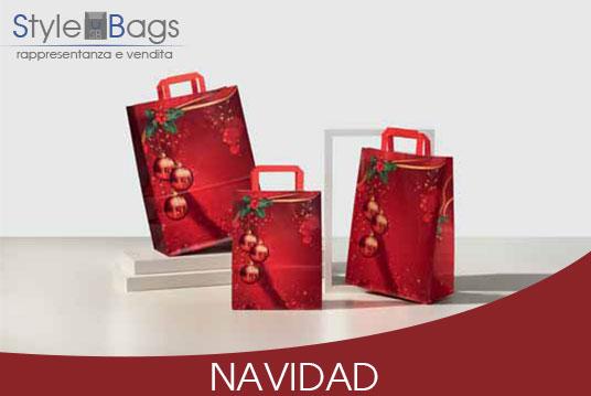 Shopper in Carta Maniglia Piatta Navidad