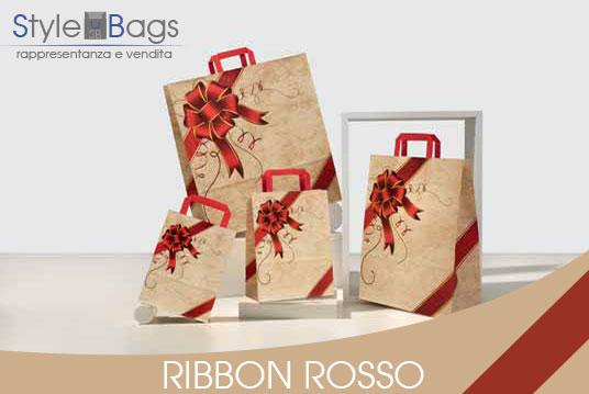 Shopper in Carta Maniglia Piatta Ribbon Rosso