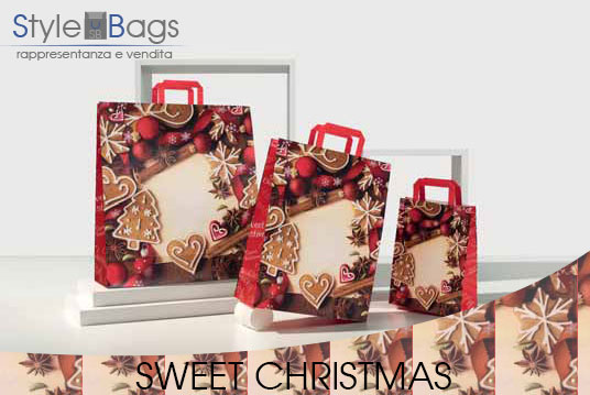Shopper in Carta Maniglia Piatta Sweet Christmas