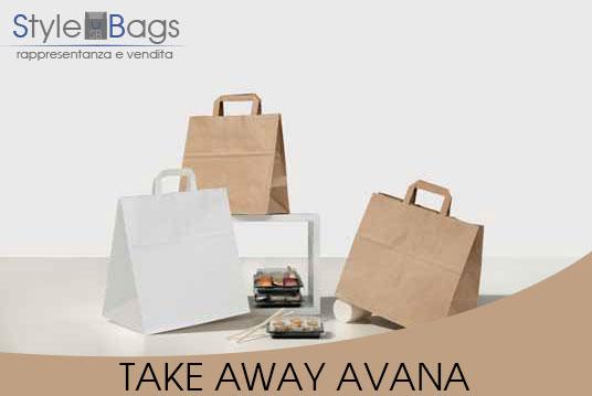 Shopper in Carta Maniglia Piatta Take Away Kraft Avana