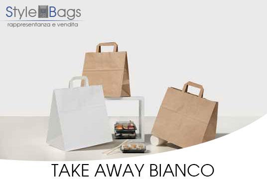 Shopper in Carta Maniglia Piatta Take Away Kraft Bianco