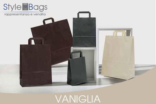 Shopper in Carta Maniglia Piatta Colore Vaniglia