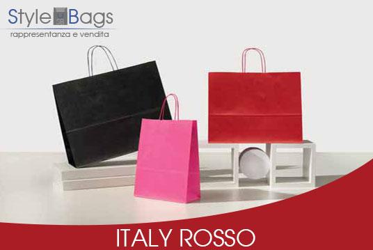 Shopper in Carta Maniglia Ritorta Colorati Italy Rosso