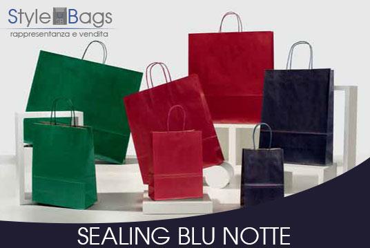 Shopper in Carta Maniglia Ritorta Colorati Sealing Colore Blu Notte