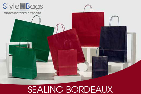 Shopper in Carta Maniglia Ritorta Colorati Sealing Colore Bordeaux