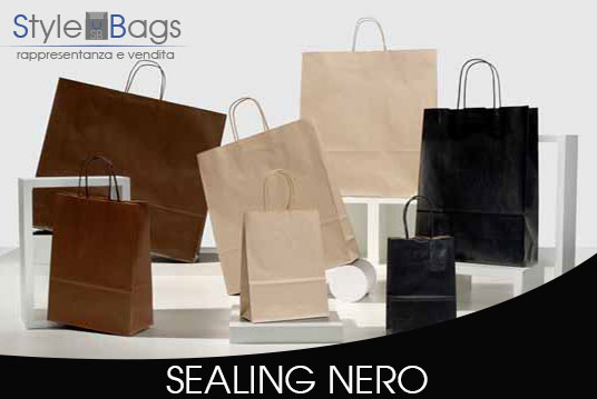 Shopper in Carta Maniglia Ritorta Colorati Sealing Colore Nero