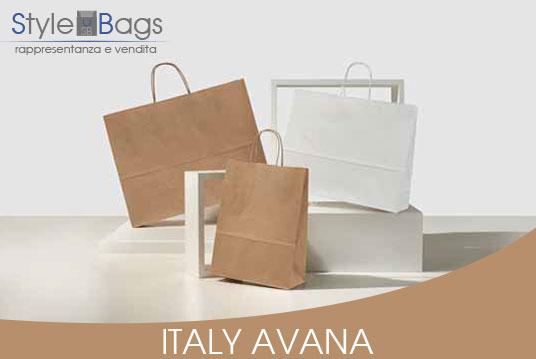 Shopper in Carta Maniglia Ritorta Italy Colore Avana