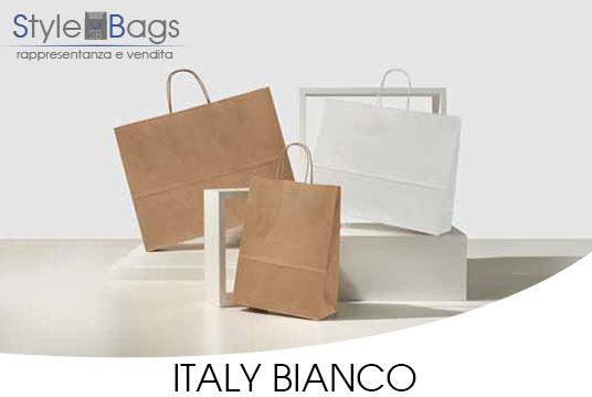 Shopper in Carta Maniglia Ritorta Italy Colore Bianco