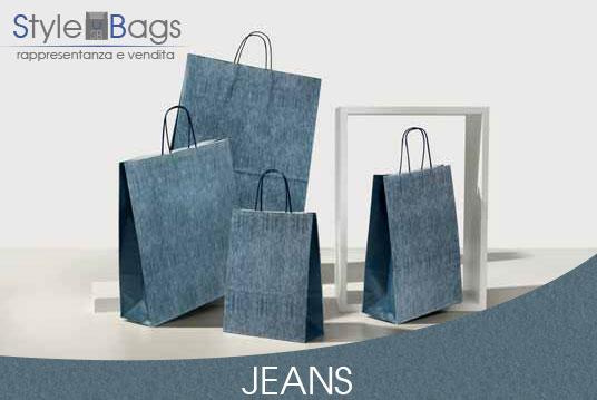 Shopper in Carta Maniglia Ritorta Jeans