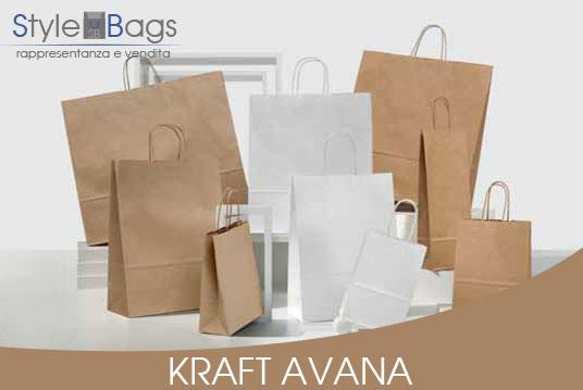 Shopper in Carta Maniglia Ritorta Colore Kraft Avana