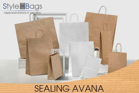 Shopper in Carta Maniglia Ritorta Colore Sealing Avana
