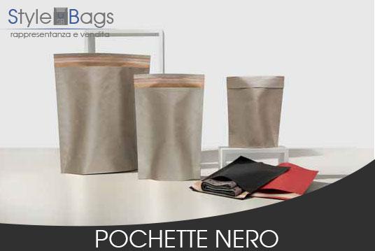 Shopper in Carta Pochette Colore Nero