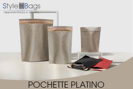 Shopper in Carta Pochette Colore Platino