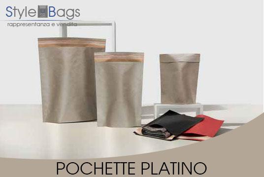 Shopper in Carta Pochette Colore Platino
