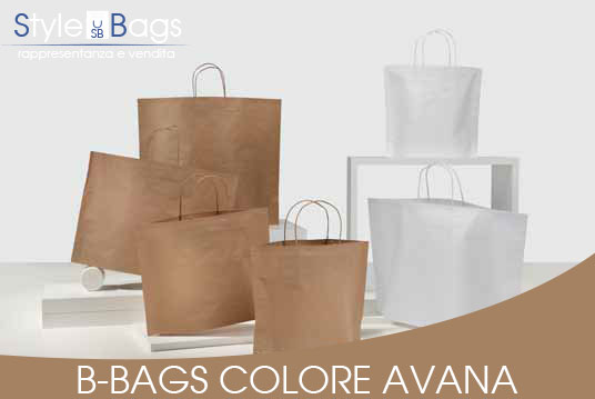 Shopper in Carta Maniglia Ritorta B-Bags Kraft Avana