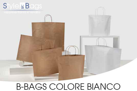 Shopper in Carta Maniglia Ritorta B-Bags Kraft Bianco