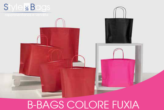 Shopper in Carta Maniglia Ritorta B-Bags Colorati Fondo Fuxia