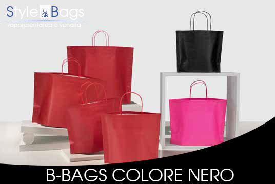 Shopper in Carta Maniglia Ritorta B-Bags Colorati Fondo Nero
