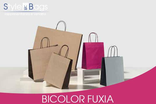 Shopper in Carta Maniglia Ritorta Bicolor colore Fuxia