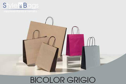 Shopper in Carta Maniglia Ritorta Bicolor colore Grigio