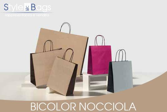 Shopper in Carta Maniglia Ritorta Bicolor colore Nocciola