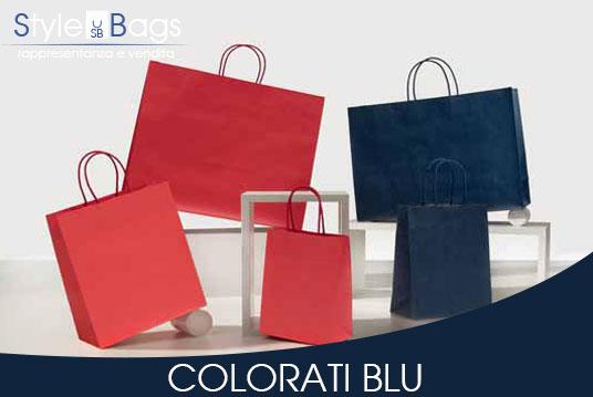 Shopper in Carta Maniglia Ritorta Colorati colore Blu