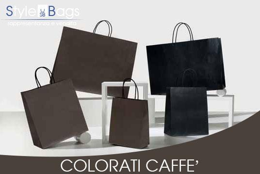 Shopper in Carta Maniglia Ritorta Colorati colore Caffè