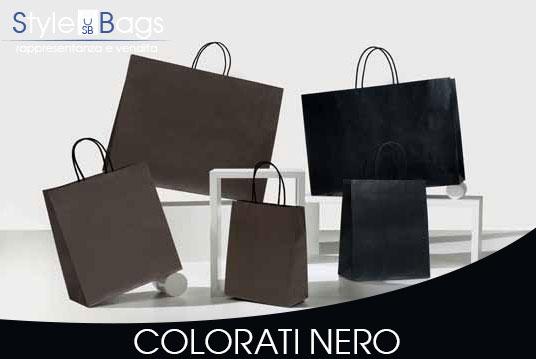 Shopper in Carta Maniglia Ritorta Colorati colore Nero