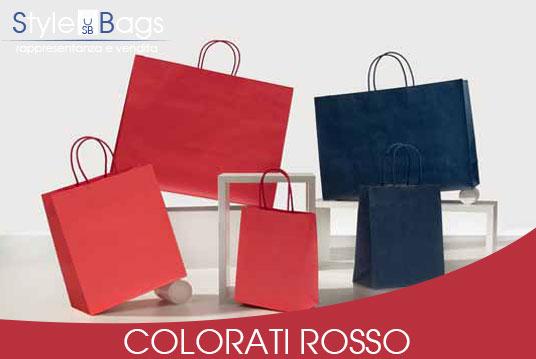 Shopper in Carta Maniglia Ritorta Colorati colore Rosso