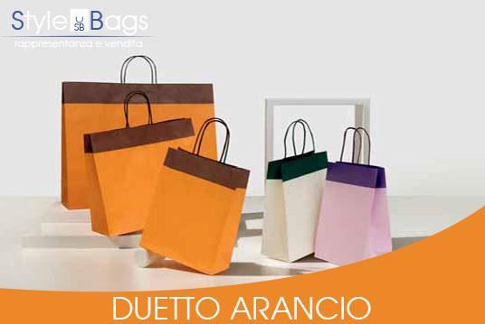 Shopper in Carta Maniglia Ritorta Duetto colore Arancio
